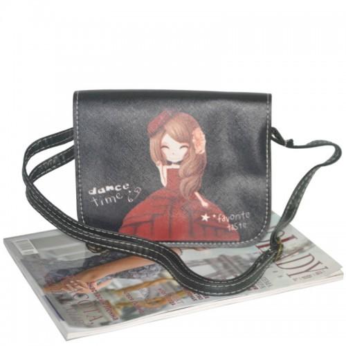 Женский клатч с девочкой в красном платье 01536191884148red черный
