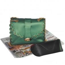 Женский клатч с заклепками 01546551077947green зеленый