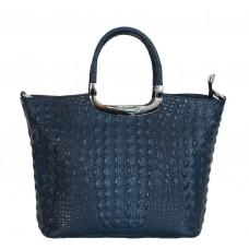 Кожаная женская сумка Bottega Carele BC123-darkblue тёмно-синяя