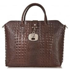 Кожаная женская сумка Bottega Carele BC127-darkbrown тёмно-коричневая