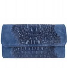 Кожаная женская сумка-клатч Bottega Carele BC504-blue синяя