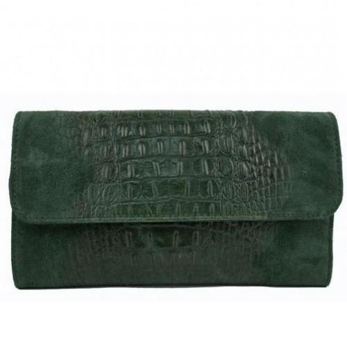 Кожаная женская сумка-клатч Bottega Carele BC504-green зеленая