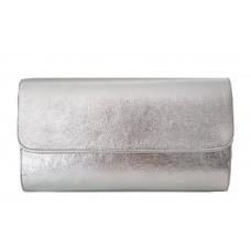 Кожаная женская сумка- клатч Bottega Carele BC5041-silver серебристая
