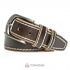 Кожаный ремень под джинсы AMO ACCESSORI AMOA-04-40brown коричневый