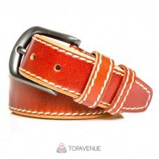 Кожаный ремень под джинсы AMO ACCESSORI AMOA-04-40cognac коньяк