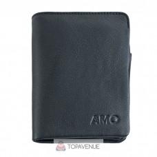 Кожаное мужское портмоне AMO ACCESSORI AMO165-3black черное