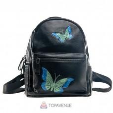 Женский кожаный рюкзак AMO ACCESSORI AMO1034-1black черный
