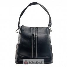 Женский кожаный рюкзак AMO ACCESSORI AMO1050black черный