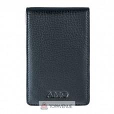 Кожаная кредитница AMO ACCESSORI AMO168-3black черная