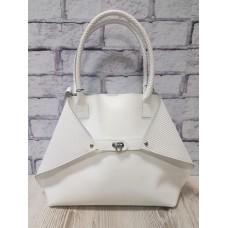 Женская сумка ANKO Флай натуральная кожа белая с плетенкой