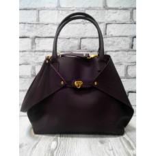 Женская сумка ANKO Флай натуральная кожа баклажан с плетенкой