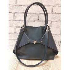 Женская сумка ANKO Флай натуральная кожа серо-синяя с плетенкой