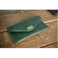 Кожаное портмоне-клатч 130077 зеленое