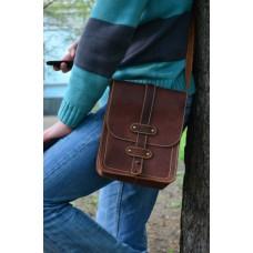 Мужская кожаная сумка через плечо 864065 коньяк