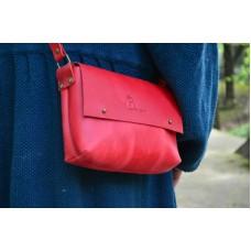Женский кожаный клатч 877078 красный