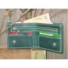 Кожаное портмоне 111077 зеленое
