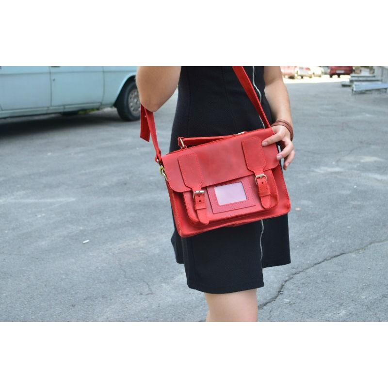 7d158e632fce Женская кожаная сумка-портфель 889078 красная — купить недорого в ...