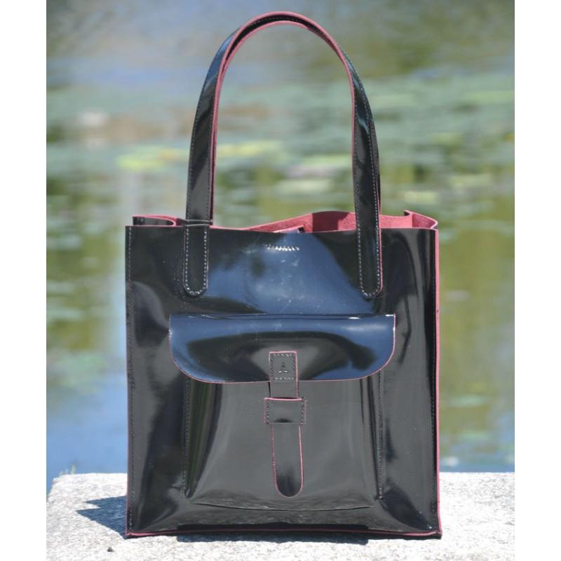 9a73c07746e3 ᐉ Кожаная лакированная сумка 11410510 черная с бордовым купить ...