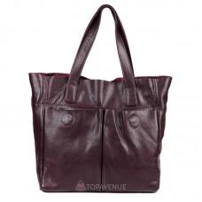 Женская кожаная сумка с карманами виноградная