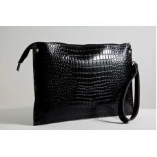 Жіночий клатч шкіряний K010201-black кайман чорний