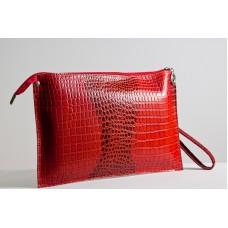 Жіночий клатч шкіряний K010203-red кайман червоний