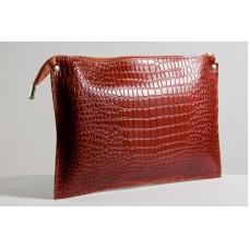 Жіночий клатч шкіряний K010211-ginger кайман рудий