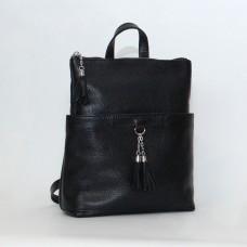 Жіночий шкіряний рюкзак-трансформер B050101-black чорний