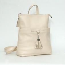 Жіночий шкіряний рюкзак-трансформер B050104-beige бежевий