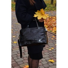 Сумка шкіряна жіноча S550201-black кайман чорна