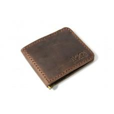 Зажим для денег кожаный Bogz «Cosmos» P8M7S3 коричневый