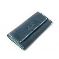 Шкіряний гаманець Bogz «Медісон» P4M40S4 блакитний