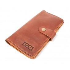 Кошелёк кожаный BOGZ Long на кнопке P14M10S3 коричневый