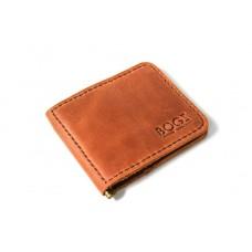Зажим для денег кожаный Bogz «Cosmos» P8M10S3 коричневый