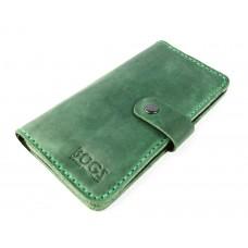 Кошелёк кожаный Bogz Long на кнопке P14M9S9 зеленый