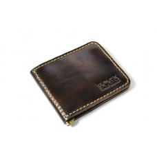 Зажим для денег кожаный Bogz «Cosmos» P8M3M6S2 коричневый лак