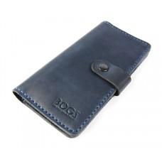 Кошелёк кожаный Bogz Long на кнопке P14M8S8 синий