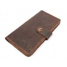 Кошелёк кожаный Bogz Long на кнопке P14M7S3 коричневый