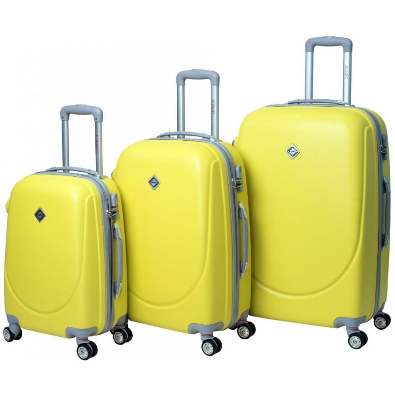 60566a33e5e0 Набор чемоданов Bonro Smile 3 штуки с двойными колесами желтый (110065)