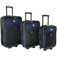 Набір валіз Bonro Style 3 штуки чорно-темно синій (110109)