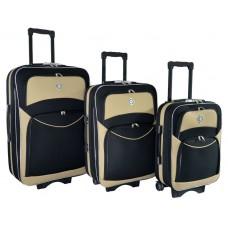 Набір валіз Bonro Style 3 штуки чорно-кремовий (110111)