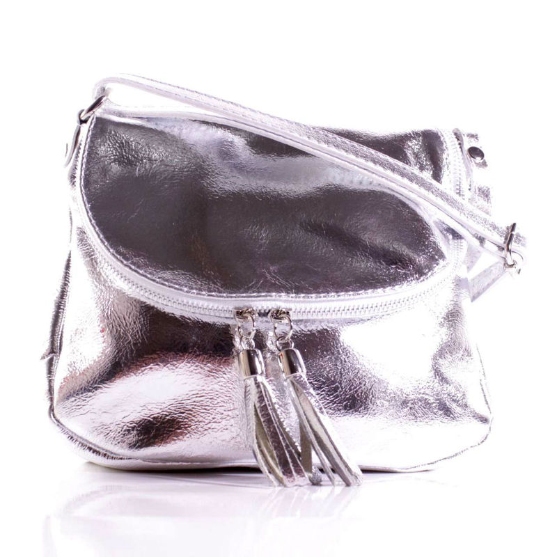 Женская кожаная сумка мессенджер BIM039 серебристая Италия — купить ... 1d30a9d9eb1