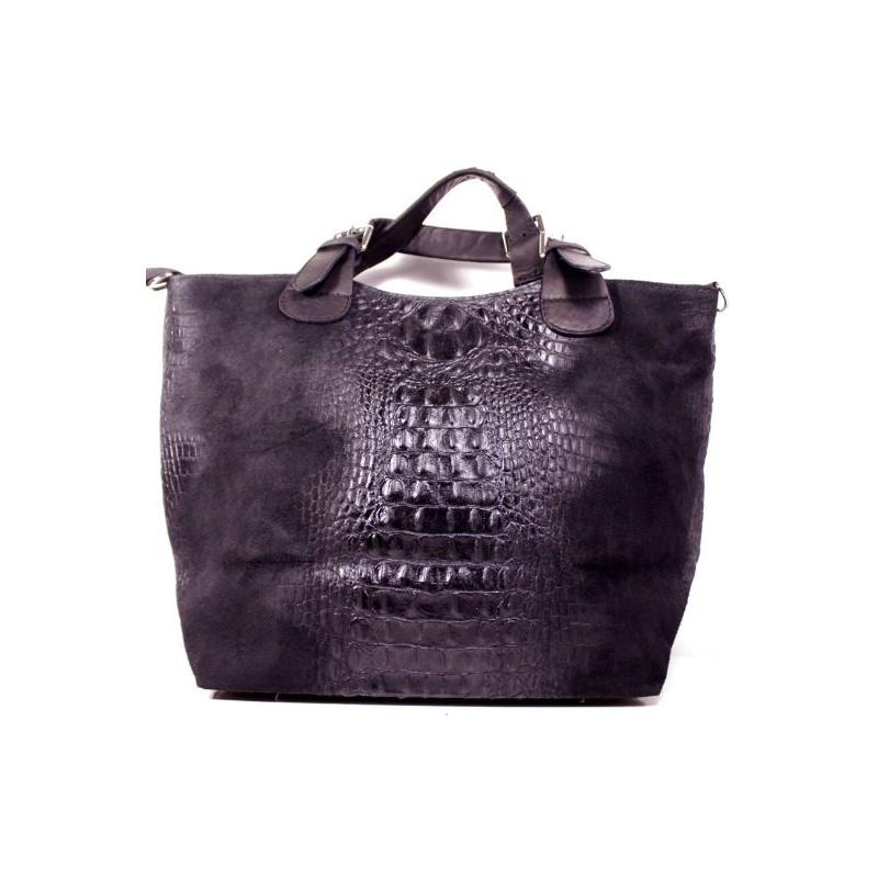 Жіноча замшева сумка тоут BIH0-001 чорна Італія — купити недорого в ... 61976809d2485