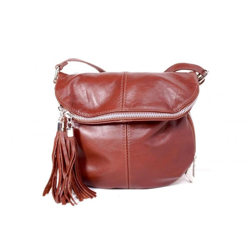 6c281d7d42bf Женская кожаная сумка через плечо MIK0-L04 коричневая Италия ...