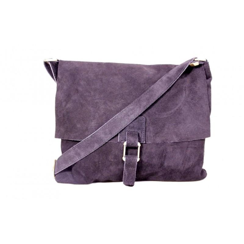 Женская замшевая сумка почтальонка B600-01 серая Италия — купить ... 8d24e533559