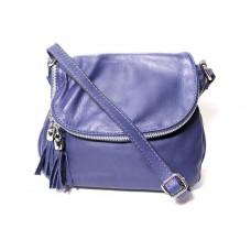 Женская кожаная сумка мессенджер BIM008 синяя