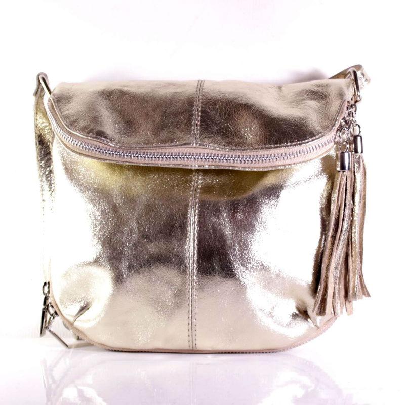 1bcbf22e10eb Женская кожаная сумка через плечо MIK0-L27 золотистая Италия ...