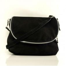 Женская замшевая сумка через плечо B6L001 черная