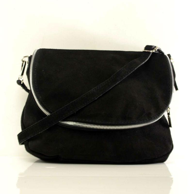 48cc36b9f805 Женская замшевая сумка через плечо B6L001 черная Италия — купить ...