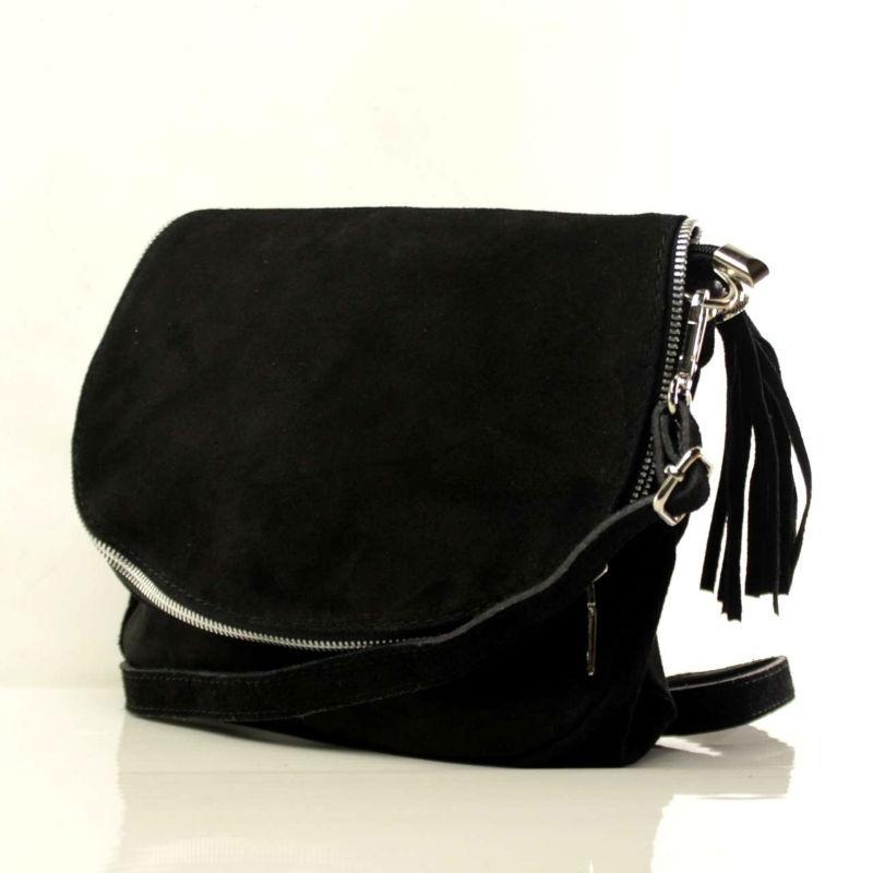 Жіноча замшева сумка через плече B6L001 чорна Італія — купити ... 867e4ecceffea