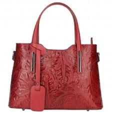 Кожаная женская сумка с тиснением Bottega Carele BC149-red красная